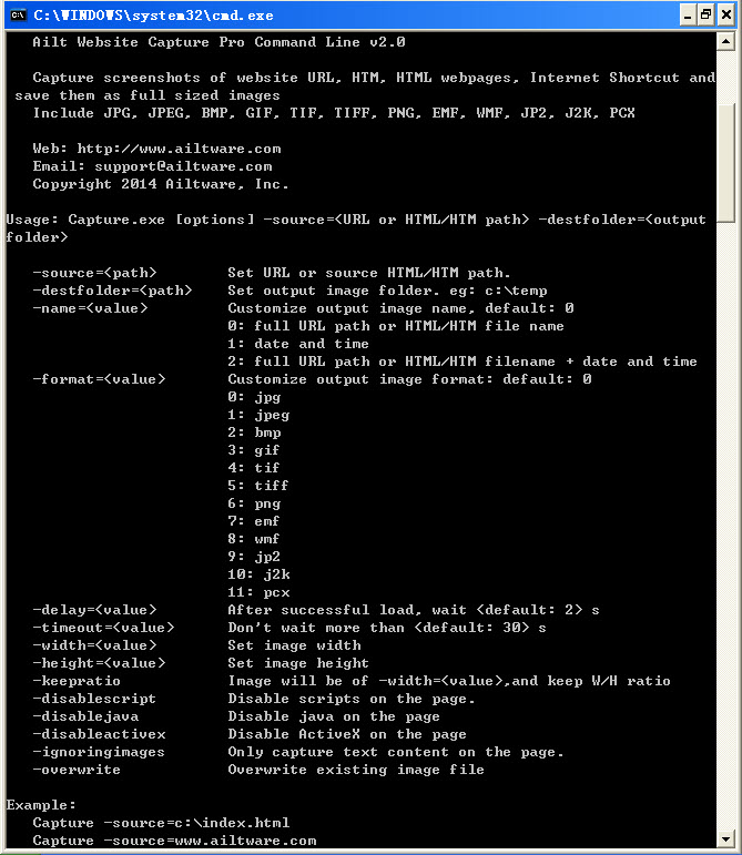 Ailt Website Capture Pro Command Line full screenshot